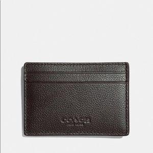 Coach Men's Money Clip Card Case Black Leather